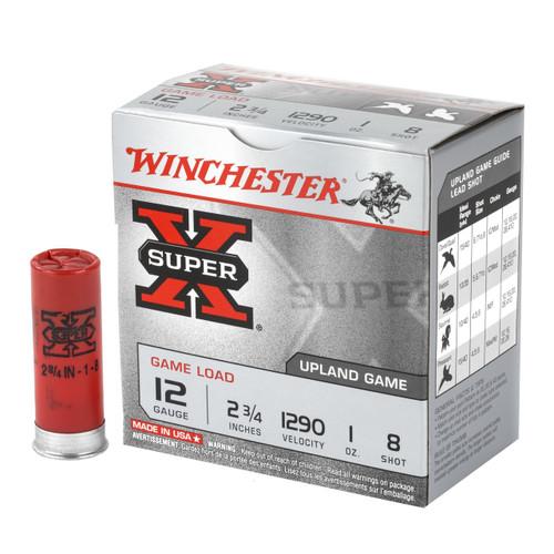 "Winchester Super-X Game Load 12ga 2-3/4"" 1 oz #8 Shot 25/Box"