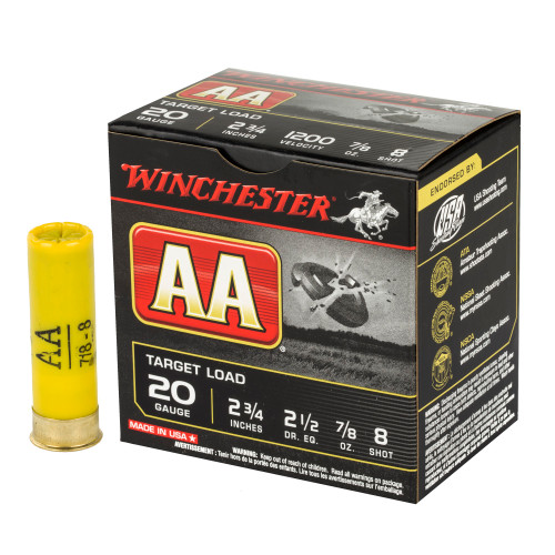 Brand: Winchester | MPN: AA208 | Use: Target, Trap, Skeet | Gauge: 20 | Length: 2-3/4"