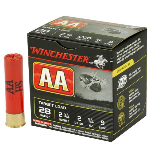 "Brand: Winchester Ammo | MPN: AA289 | Use: Target (Skeet, Clays, Trap) | Gauge: 28 | Length: 2-3/4"" | Shot Size: #9 | Shot Weight: 3/4 oz | MUNITIONS EXPRESS"