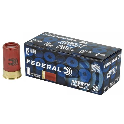"Federal Shorty Shotshell 12ga 1-3/4"" #4 Buckshot 15 Pellets 10/Box"