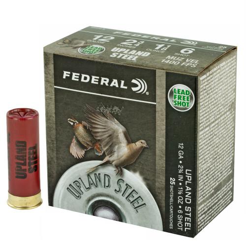 "Brand: Federal Ammo | MPN: USH126 | Use: Hunting (Quail, Dove) | Gauge: 12 | Length: 2-3/4"" | Shot Size: #6 | Shot Weight: 1-1/8 oz | MUNITIONS EXPRESS"