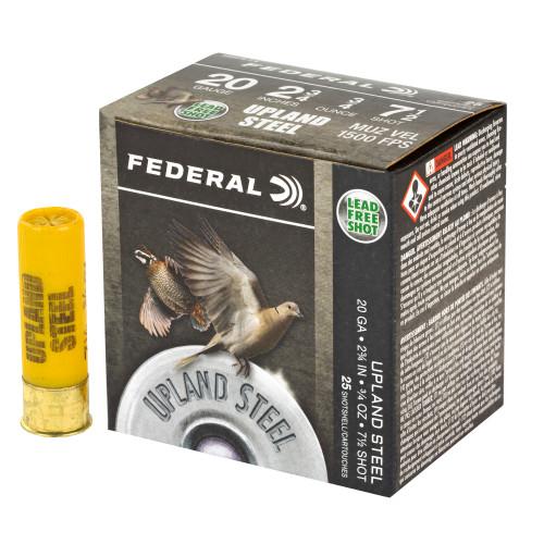 "Federal Upland Steel 20ga 2-3/4"" 3/4 oz #7-1/2 Shot 25/Box"
