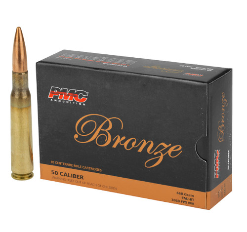 Brand: PMC Ammo | MPN: 50A | Use: Target, Competition | Caliber: .50 BMG | Grain: 660 | Bullet: Full Metal Jacket | MUNITIONS EXPRESS