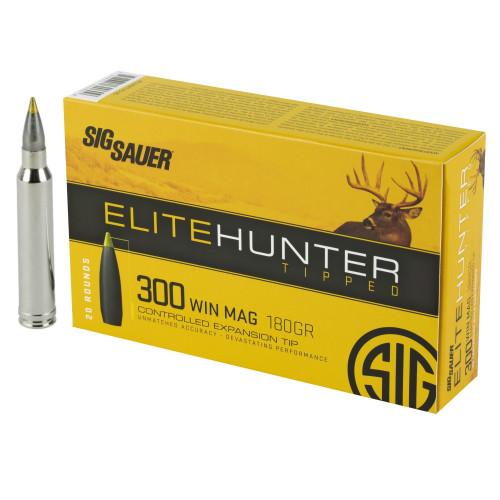 Brand: Sig Sauer Ammo | MPN: E3WMTH3-20 | Use: Hunting (Deer, Black Bear) | Caliber: .300 Win Mag | Grain: 180 | Bullet: Polymer Tip Boat Tail | MUNITIONS EXPRESS