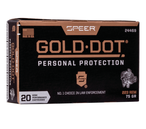 Speer Gold Dot Short Barrel Personal Protection .223 Remington Ammo 75gr Jacketed Hollow Point 20/Box