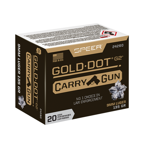 Speer Gold Dot G2 Carry Gun Ammo 9mm Luger 135gr Jacketed Hollow Point 20/Box