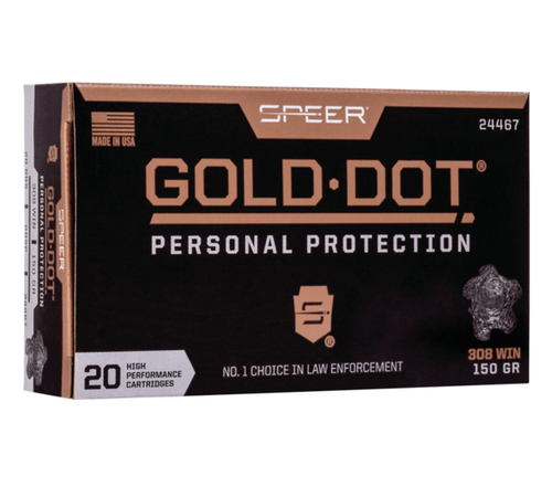Speer Gold Dot Short Barrel Personal Protection Ammo .308 Winchester 150gr Jacketed Hollow Point 20/Box