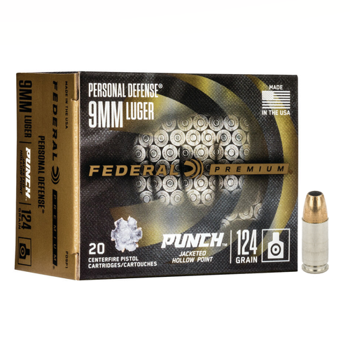 Federal Premium Personal Defense PUNCH Ammo 9mm Luger 124gr Jacketed Hollow Point 20/Box