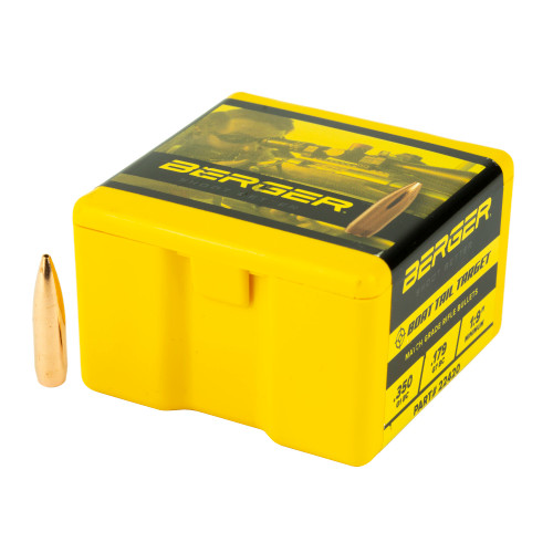 Brand: Berger Bullets | MPN: 22420 | Use: Target, Competition | Caliber: .22 (.224 Diameter) | Grain: 73 | Bullet: Hollow Point Boat Tail | MUNITIONS EXPRESS