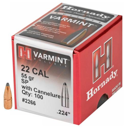 Brand: Hornady Bullets | MPN: 2266 | Use: Hunting (Varmint) | Caliber: .22 (.224 Diameter) | Grain: 55 | Bullet: Jacketed Soft Point | MUNITIONS EXPRESS
