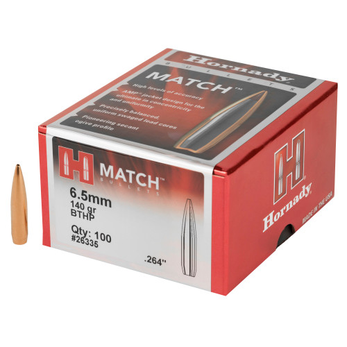 Brand: Hornady Bullets | MPN: 26335 | Use: Target, Competition | Caliber: .264 / 6.5mm (.264 Diameter) | Grain: 140 | Bullet: Hollow Point Boat Tail | MUNITIONS EXPRESS
