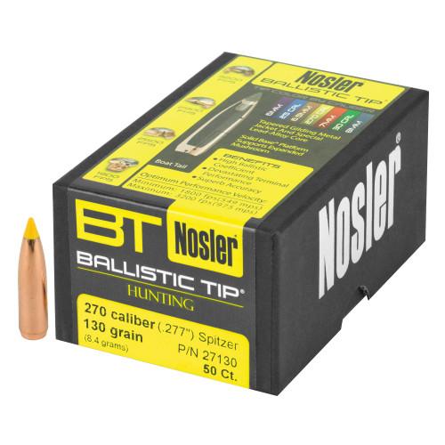 Brand: Nosler Bullets   MPN: 27130   Use: Hunting (Deer)   Caliber: 6.8mm (.277 Diameter)   Grain: 130   Bullet: Polymer Tip Spitzer Boat Tail   MUNITIONS EXPRESS