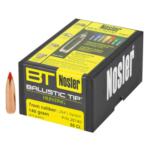 Brand: Nosler Bullets | MPN: 28140 | Use: Hunting (Deer) | Caliber: 7mm (.284 Diameter) | Grain: 140 | Bullet: Polymer Tip Spitzer Boat Tail | MUNITIONS EXPRESS