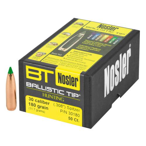 Brand: Nosler Bullets   MPN: 30180   Use: Hunting (Hogs)   Caliber: .30 (.308 Diameter)   Grain: 180   Bullet: Polymer Tip Spitzer Boat Tail   MUNITIONS EXPRESS