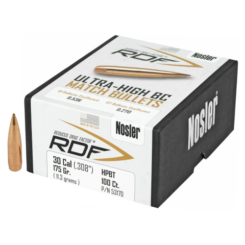 Brand: Nosler Bullets | MPN: 53170 | Use: Target, Competition | Caliber: .30 (.308 Diameter) | Grain: 175 | Bullet: Jacketed Hollow Point Boat Tail | MUNITIONS EXPRESS
