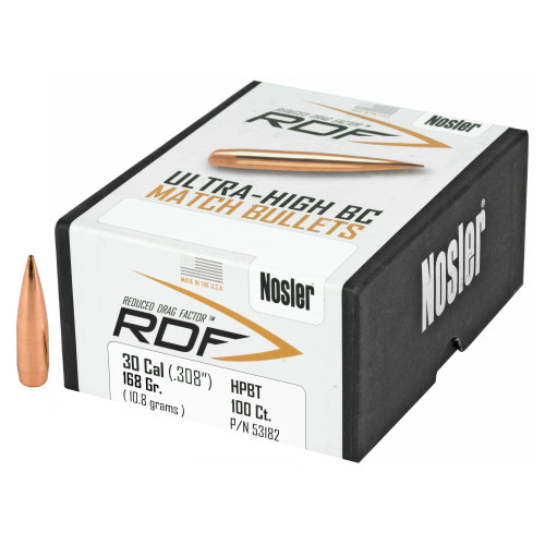 Brand: Nosler Bullets | MPN: 53182 | Use: Target, Competition | Caliber: .30 (.308 Diameter) | Grain: 210 | Bullet: Jacketed Hollow Point Boat Tail | MUNITIONS EXPRESS