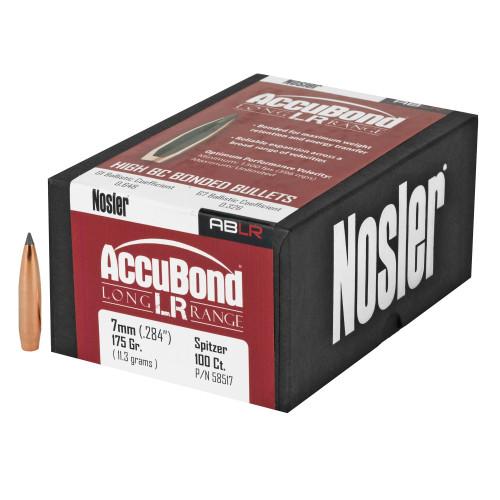Brand: Nosler Bullets | MPN: 58517 | Use: Hunting (Elk) | Caliber: 7mm (.284 Diameter) | Grain: 175 | Bullet: Bonded Polymer Tip Boat Tail | MUNITIONS EXPRESS