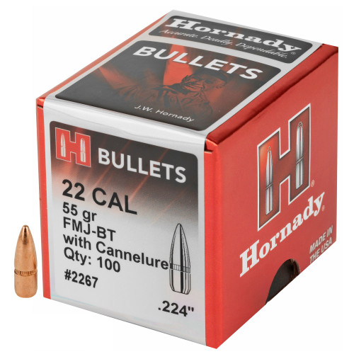 Brand: Hornady Bullets | MPN: 2267 | Use: Target, Competition | Caliber: .22 (.224 Diameter) | Grain: 55 | Bullet: Full Metal Jacket Boat Tail | MUNITIONS EXPRESS