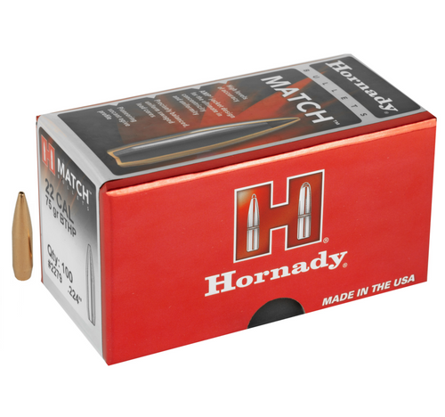 Brand: Hornady Bullets | MPN: 2279 | Use: Target, Competition | Caliber: .22 (.224 Diameter) | Grain: 75 | Bullet: Hollow Point Boat Tail | MUNITIONS EXPRESS