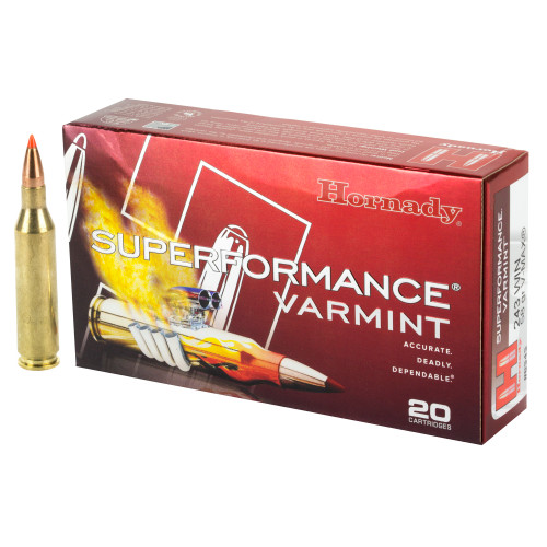 Brand: Hornady Ammo | MPN: 8343 | Use: Hunting (Varmint) | Caliber: .243 Winchester | Grain: 58 | Bullet: Polymer Tip | MUNITIONS EXPRESS