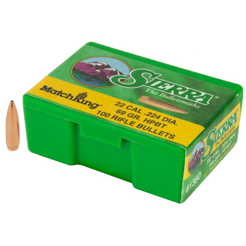 Brand: Sierra Bullets | MPN: 1380 | Use: Competition | Caliber: .22 Caliber (.224 Diameter) | Grain: 69 | Bullet: Hollow Point Boat Tail | MUNITIONS EXPRESS