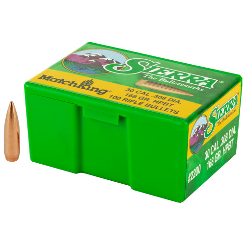 Brand: Sierra Bullets | MPN: 2200 | Use: Competition, Target | Caliber: .30 (.308 Diameter) | Grain: 168 | Bullet: Hollow Point Boat Tail | MUNITIONS EXPRESS