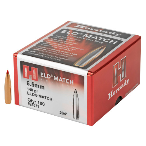 Brand: Hornady Bullets | MPN: 26331 | Use: Competition, Target | Caliber: 6.5mm (.264 Diameter) | Grain: 140 | Bullet: Polymer Tip Boat Tail | MUNITIONS EXPRESS