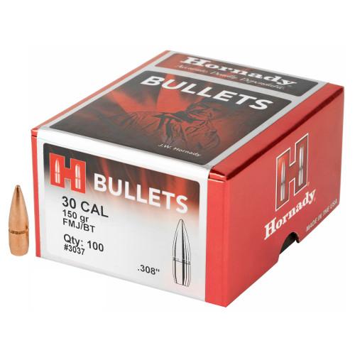Brand: Hornady Bullets | MPN: 3037 | Use: Self-Defense | Caliber: .30 (.308 Diameter) | Grain: 150 | Bullet: Full Metal Jacket Boat Tail | MUNITIONS EXPRESS