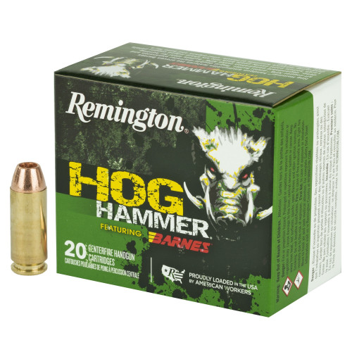 Brand: Remington Ammo | MPN: 27695 | Use: Hunting (Hogs) | Caliber: 10mm Auto | Grain: 155 | Bullet: Solid Copper Hollow Point | MUNITIONS EXPRESS