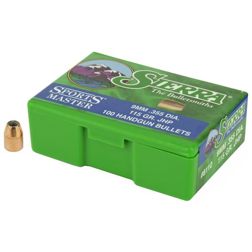 Brand: Sierra Bullets | MPN: 8110 | Use: Defense, Hunting, Competition | Caliber: 9mm (.355 Diameter) | Grain: 115 | Bullet: Jacketed Hollow Point | MUNITIONS EXPRESS
