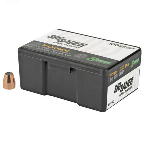 Brand: Sierra Bullets | MPN: 9990 | Use: Defense | Caliber: 9mm (.355 Diameter) | Grain: 90 | Bullet: Jacketed Hollow Point | MUNITIONS
