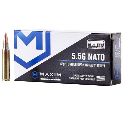 Brand: Maxim Defense Ammo   MPN: MXM-49001   Use: Home Defense, Hunting   Caliber: 5.56x45mm NATO   Grain: 62   Bullet: Solid Copper Spun   MUNITIONS EXPRESS