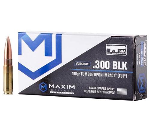 Brand: Maxim Defense Ammo | MPN: MXM-49005 | Use: Home Defense, Hunting | Caliber: .300 AAC Blackout | Grain: 190 | Bullet: Solid Copper Spun | MUNITIONS EXPRESS
