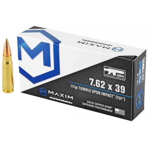 Brand: Maxim Defense Ammo | MPN: MXM-49003 | Use: Home Defense, Hunting | Caliber: 7.62x39mm | Grain: 117 | Bullet: Solid Copper Spun | MUNITIONS EXPRESS