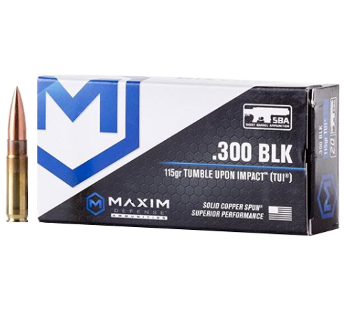 Brand: Maxim Defense Ammo | MPN: MXM-49004 | Use: Home Defense, Hunting | Caliber: .300 AAC Blackout | Grain: 115 | Bullet: Solid Copper Spun | MUNITIONS EXPRESS