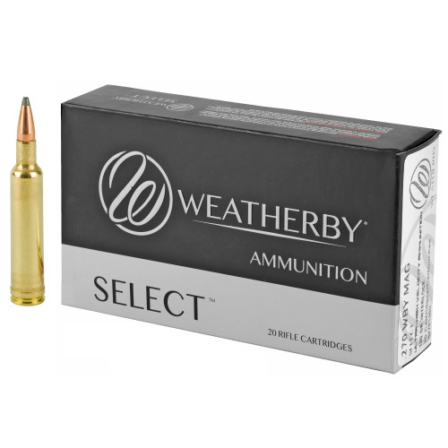 Brand: Weatherby Ammo | MPN: H270130IL | Use: Hunting (Pronghorn, Mule Deer) | Caliber: .270 Weatherby | Grain: 130 | Bullet: Jacketed Soft Point | MUNITIONS EXPRESS