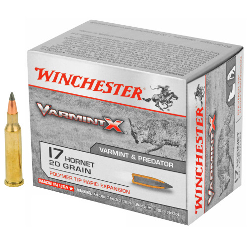 Brand: Winchester Ammo   MPN: X17P   Use: Hunting (Coyotes, Prairie Dogs)   Caliber: .17 Hornet   Grain: 20   Bullet: Polymer Tip   MUNITIONS EXPRESS
