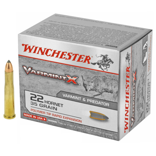 Brand: Winchester Ammo   MPN: X22P   Use: Hunting (Coyotes, Prairie Dogs)   Caliber: .22 Hornet   Grain: 35   Bullet: Polymer Tip   MUNITIONS EXPRESS