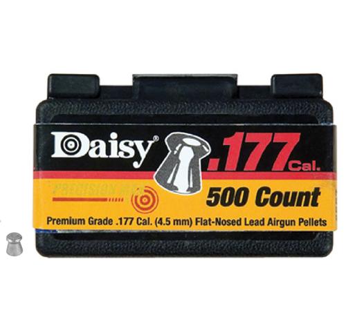 Brand: Daisy Pellets | MPN: 990557-512 | Use: Plinking, Target, Hunting (Quail, Snipe) | Caliber: .177 | Grain: 7.87 | Pellet: Flat-Nosed | MUNITIONS EXPRESS