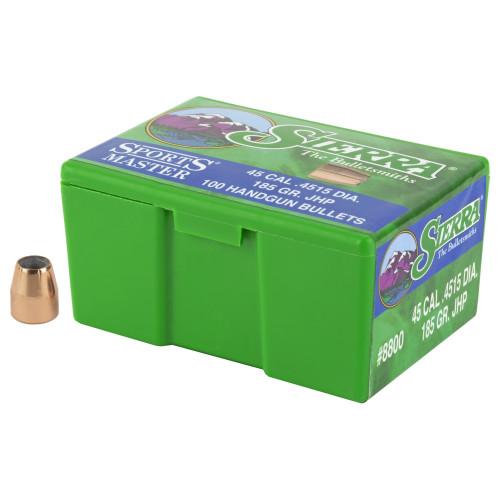 Brand: Sierra Bullets   MPN: 8800   Use: Defense, Hunting (Varmint)   Caliber: .45 (.451 Diameter)   Grain: 185   Bullet: Jacketed Hollow Point   MUNITIONS EXPRESS