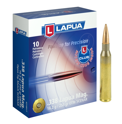 Brand: Lapua Ammo | MPN: 4318017 | Use: Target, Competition | Caliber: .338 Lapua Magnum | Grain: 250 | Bullet: Jacketed Hollow Point | MUNITIONS EXPRESS