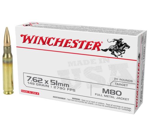 Brand: Winchester Ammo | MPN: WM80 | Use: Target | Caliber: 7.62x51mm NATO | Grain: 149 | Bullet: Full Metal Jacket | MUNITIONS EXPRESS