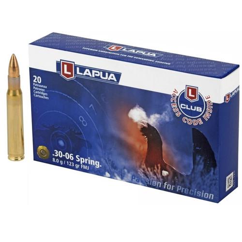 Brand: Lapua Ammo | MPN: 4317577 | Use: Competition, Target | Caliber: .30-06 Springfield | Grain: 123 | Bullet: Full Metal Jacket | MUNITIONS EXPRESS