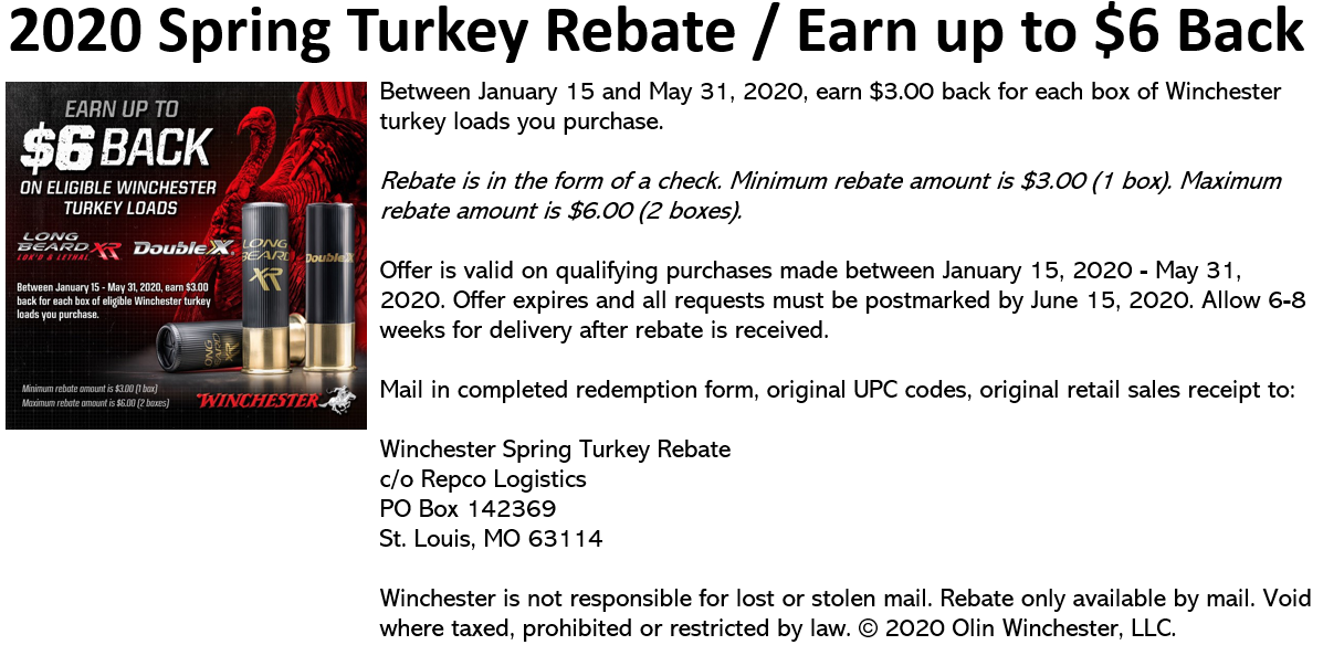 2020 Spring Turkey Rebate