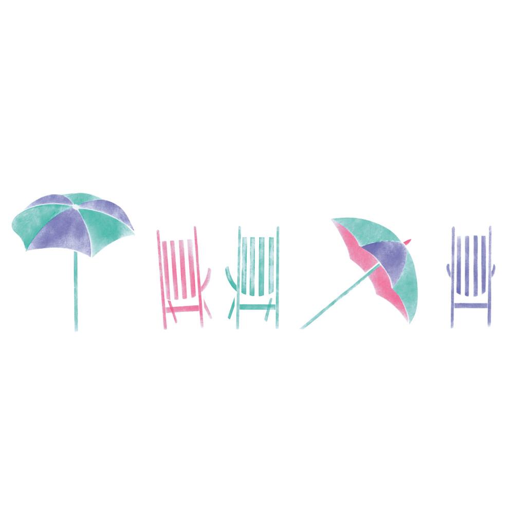 Beach Chairs and Umbrella Wall Stencil