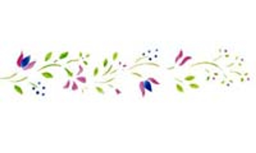 Colonial Flower Border Wall Stencil