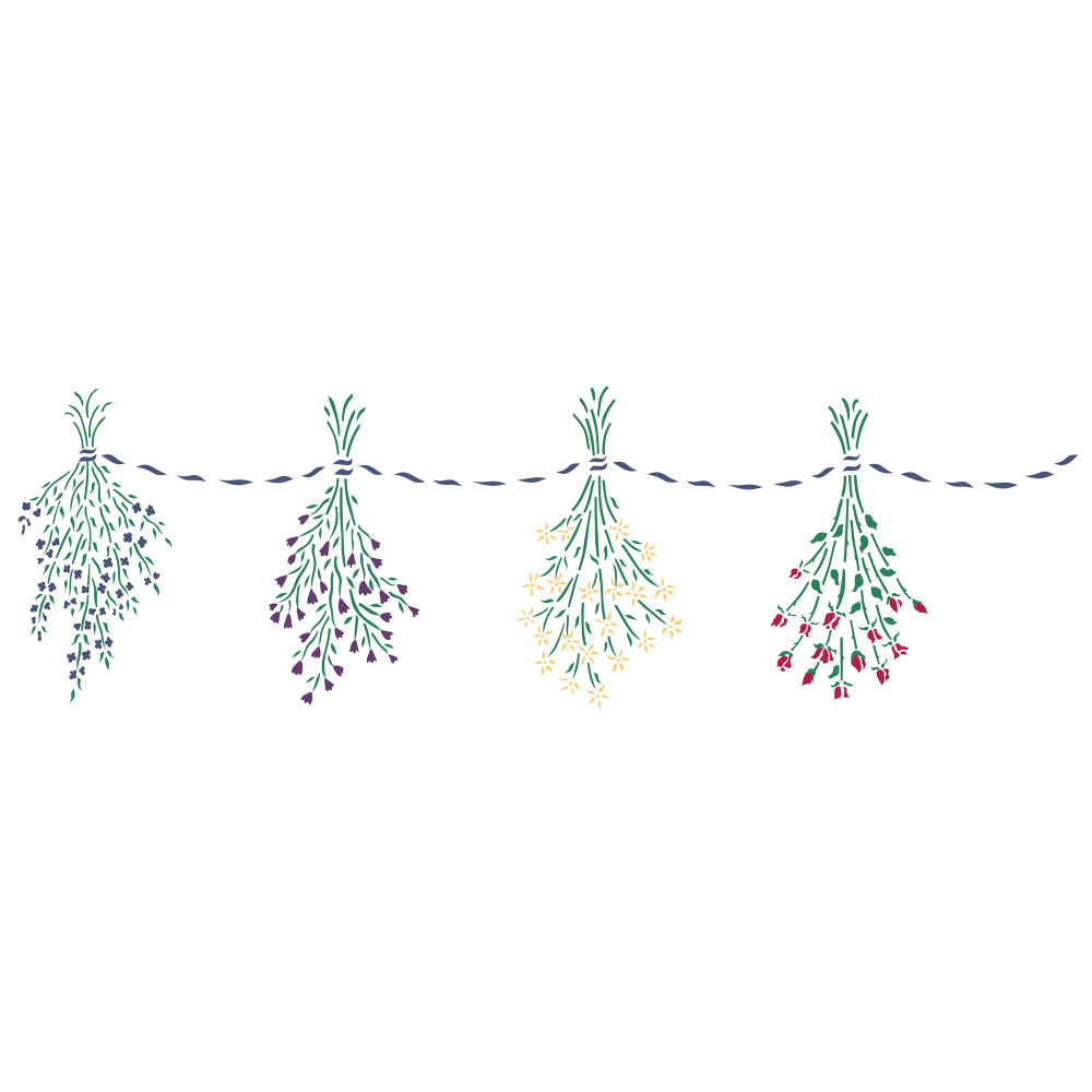 Hanging Dried Flowers Wall Stencil