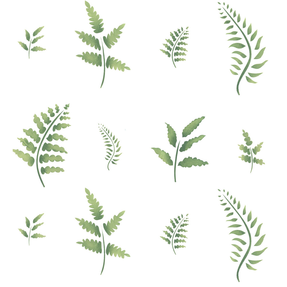 Eight Ferns Wall Stencil Scattered
