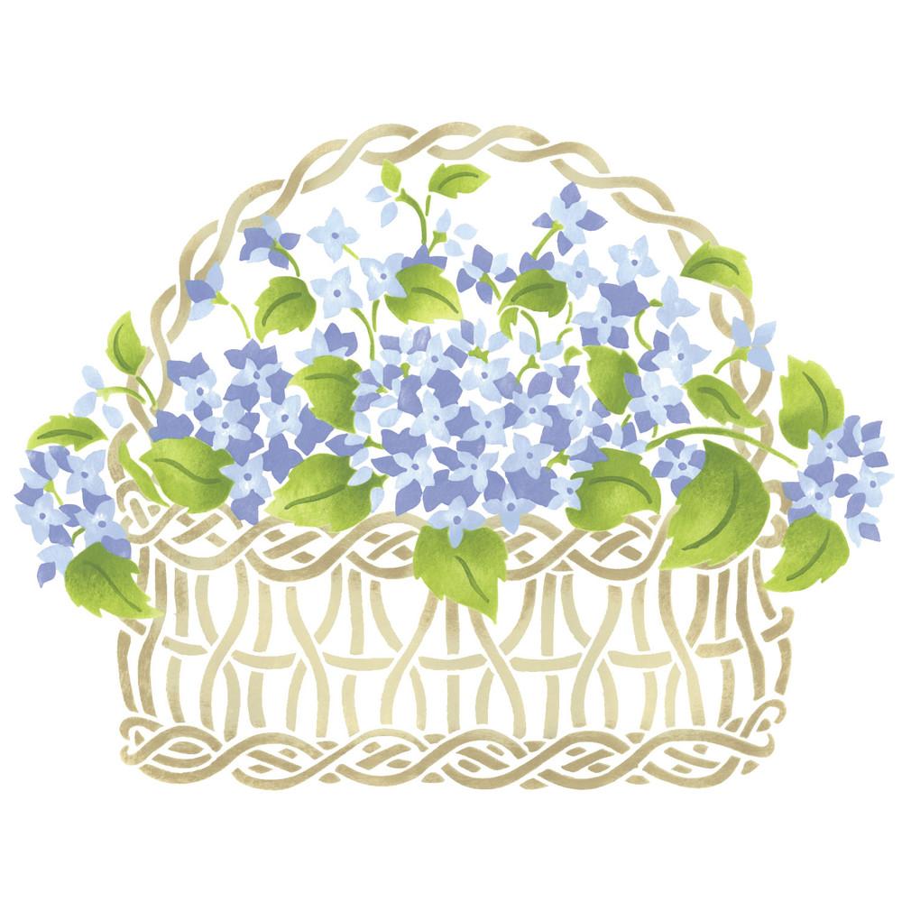 Small Hydrangea Basket Wall Stencil