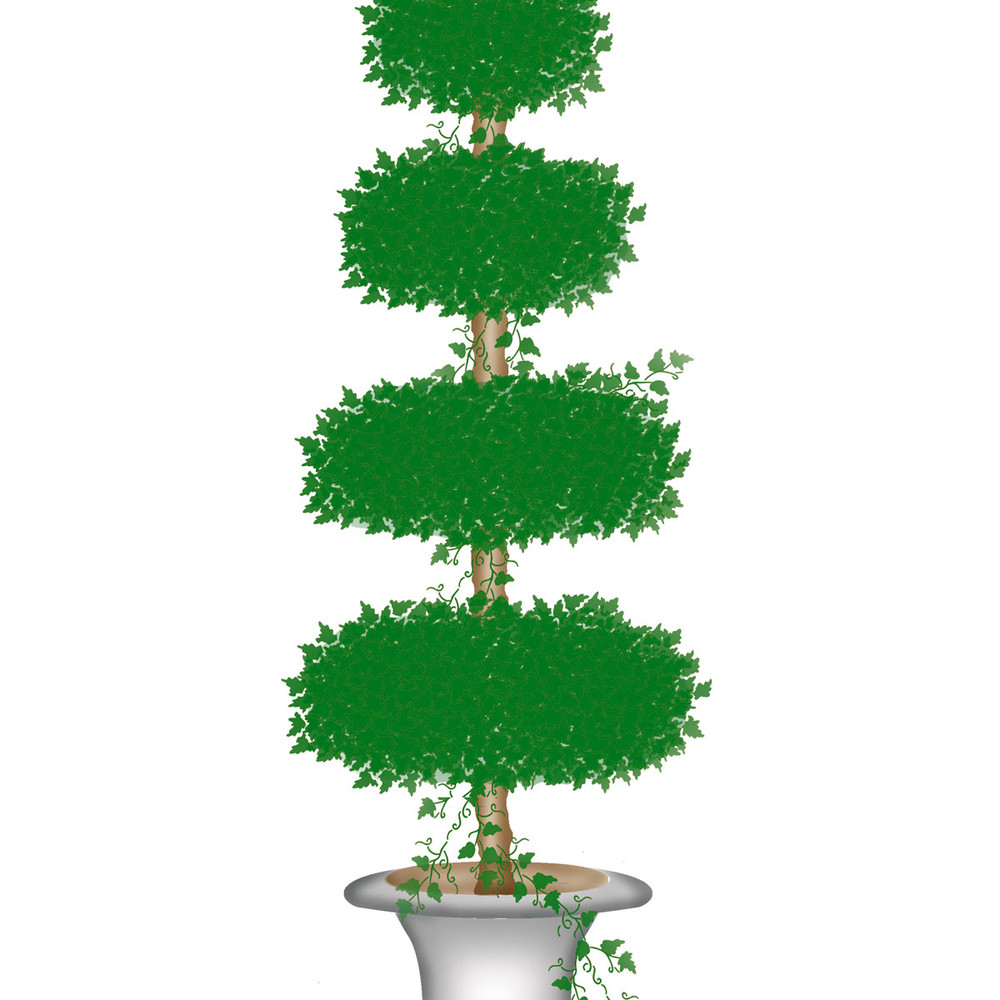 Tall Topiary with Four Oval Shapes Wall Stencil